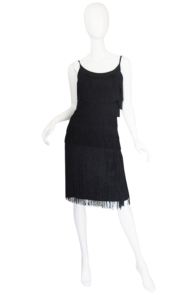 Gorgeous 1950s Black Fringe Pin Up Cocktail Dress