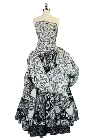Mid 60s-early 1970s Louis Feraud Couture Cotton BallGown