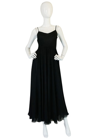 Wonderful c1974 Halston Black Bias Cut Silk Chiffon Dress