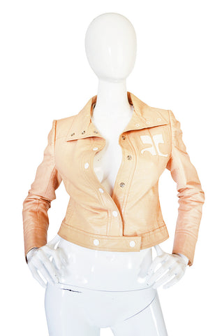 Documented 1971-1972 Andre Courreges Vinyl Crop Jacket in Buff