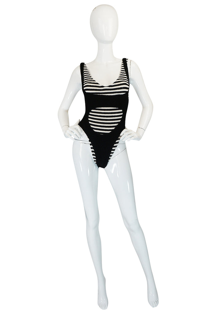 1980s Liza Bruce Black & White Two Piece Layered Swimsuit