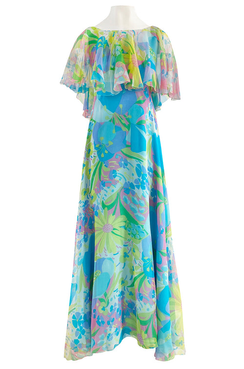 1970s Stavropoulos Couture Bias Cut Pastel Floral Turquoise Silk Chiffon Dress w Caped Detail