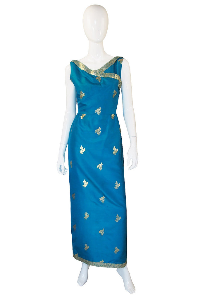 1950s Blue Fine Tissue Silk & Gold Gown