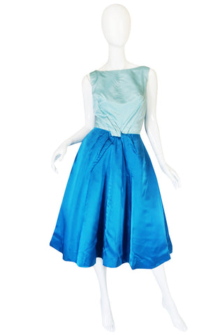 1950s Two Tone Blue Silk Satin Estevez Dress