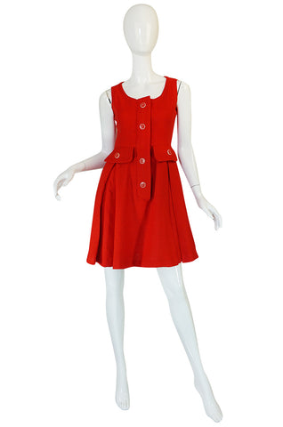 1960s Geoffrey Beene Boutique Red Linen Dress