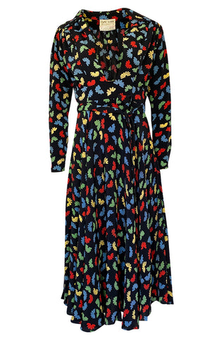 1970s Ossie Clark Celia Birtwell for Quorum Fan Print Front Plunge Dress