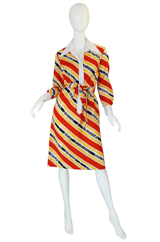 1970s Lanvin Bright Red & Yellow Stripe Printed Shirt Dress
