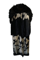 Extraordinary 1920s Evening Velvet & Feather Flapper Coat Cape