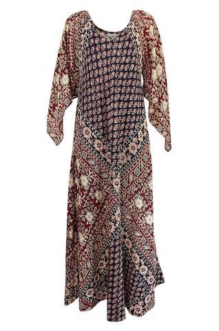 1960s Unlabeled Beautifully Printed Indian Cotton Caftan Dress