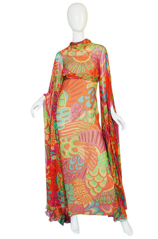 1970s Saks Floor Length Sleeve Silk Dress