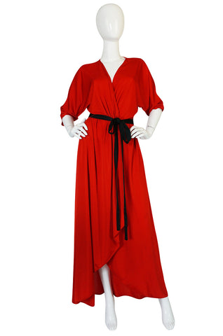 1970s Bill Blass Brilliant Red Nylon Jersey Wrap Dress