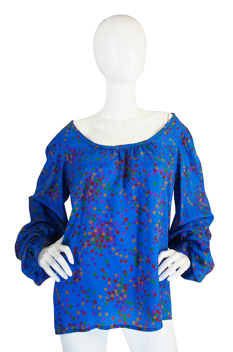 Gorgeous 1970s Yves Saint Laurent Silk Dot Top