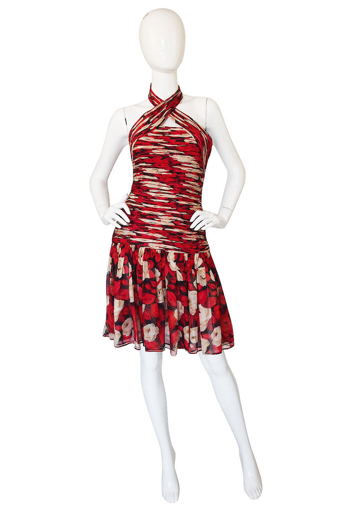 1980s Gathered Silk Chiffon Red Print Dress