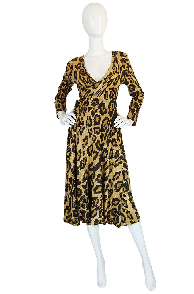 1970s Diane Von Furstenberg Leopard Wrap Dress