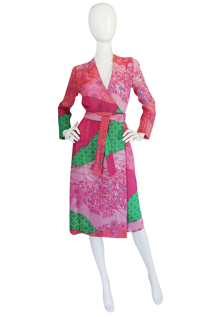 1970s Pink Print Cotton Voile Hanae Mori Wrap Dress