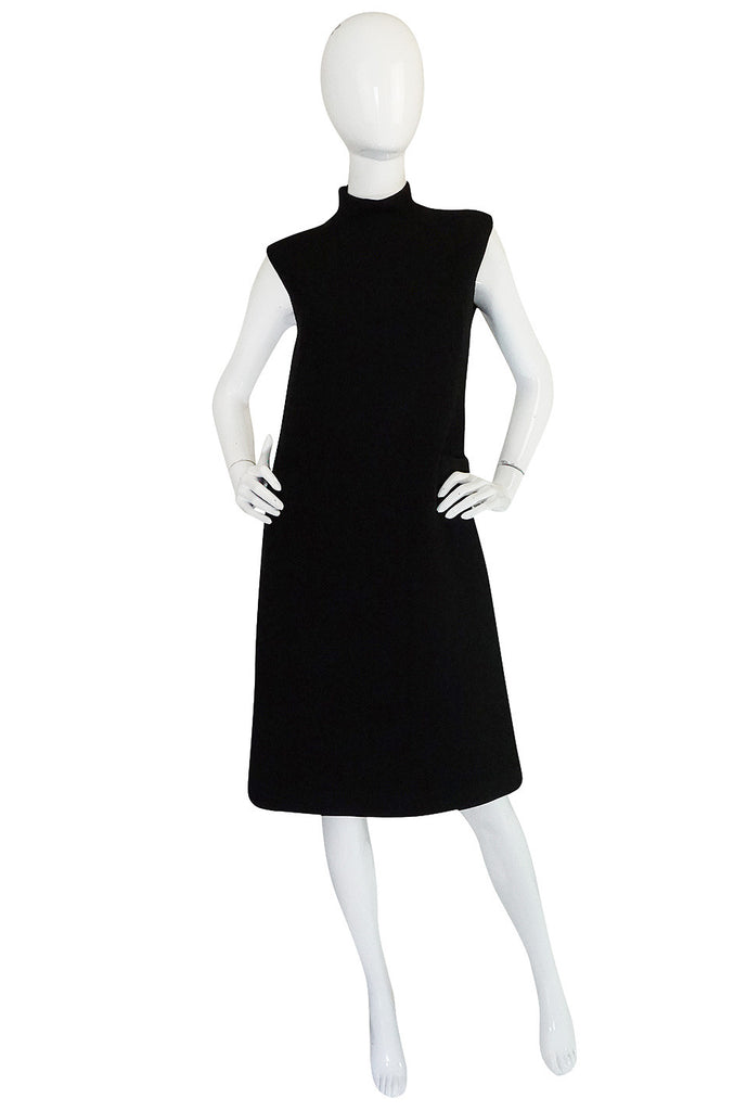 1960s Simple & Chic Norman Norell Black Shift Dress