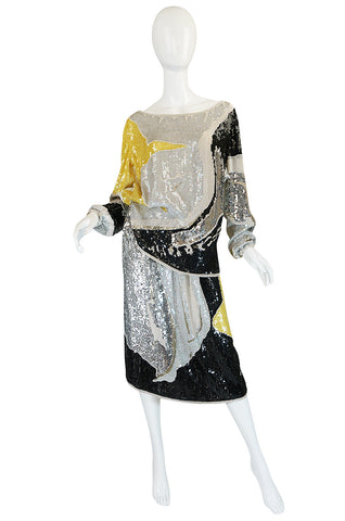 Graphic 1977 Halston Sequin, Pearl & Beaded Top & Skirt Set