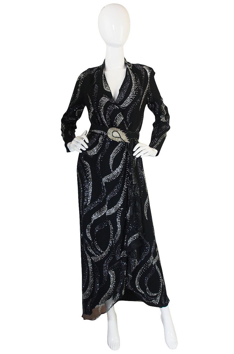 1960s George Halley Attributed Glitter Wrap Dress
