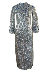 1950s Gene Shelley Blue Crystal & Silver Sequin Stretch Knit Dress