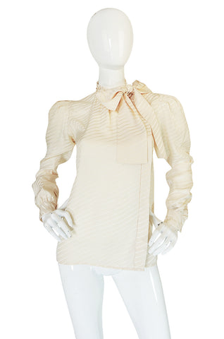 1970s Yves Saint Laurent Beautiful Cream Silk Tie Neck Top