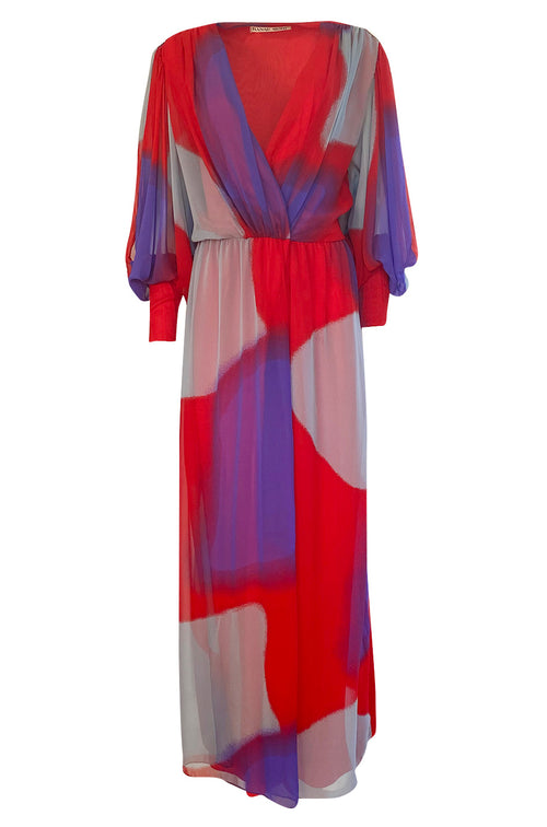 1970s Hanae Mori Full Sleeve Red & Purple Silk Chiffon Maxi Dress