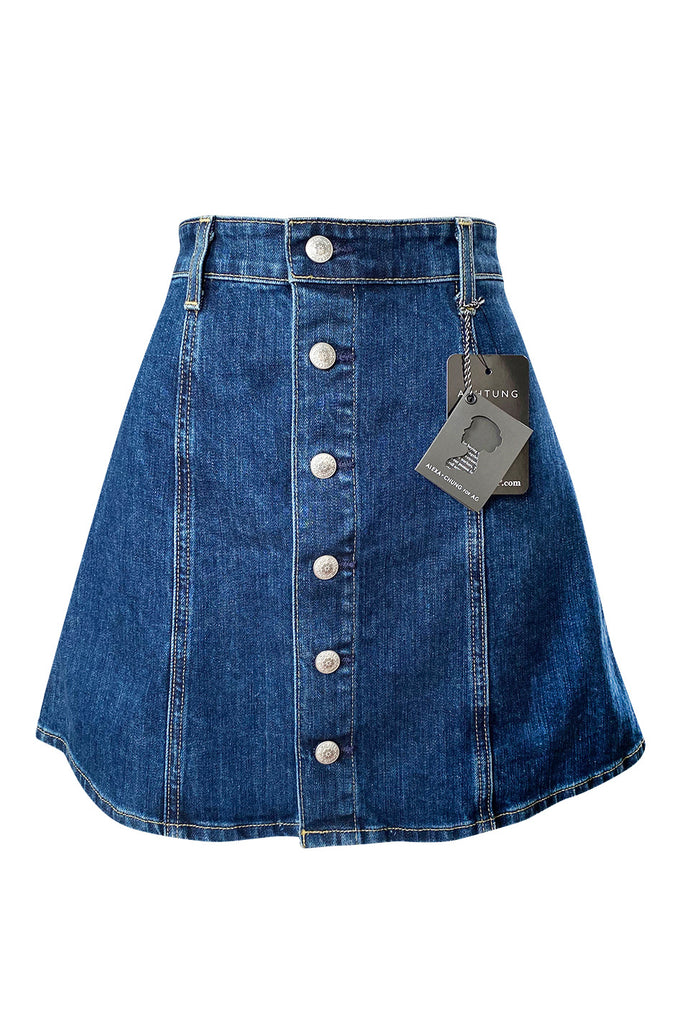 Spring 2015 Alexa Chung for AG Snap Front Denim Flare Skirt