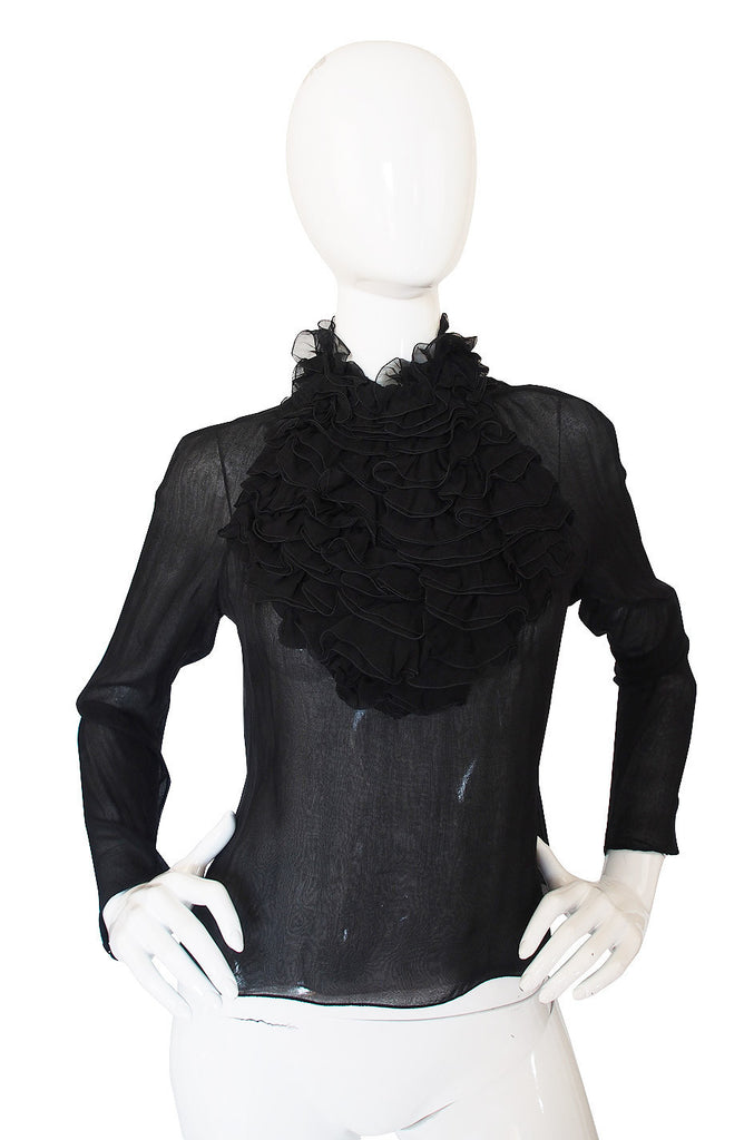 1980s Givenchy Couture Silk Ruffle Top