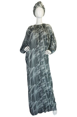 1970s Grey Print Chiffon Yuki Caftan Jersey Dress & Turban