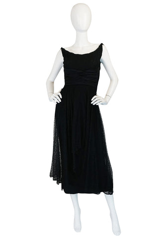 1950s Ceil Chapman Little Black Lace Overlay Dress