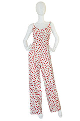 Fun 1970s James Galanos Red & White Dotted Jumpsuit