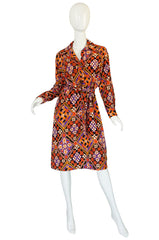 Chic 1970s Belted Coral Print Lanvin Shirt Dress