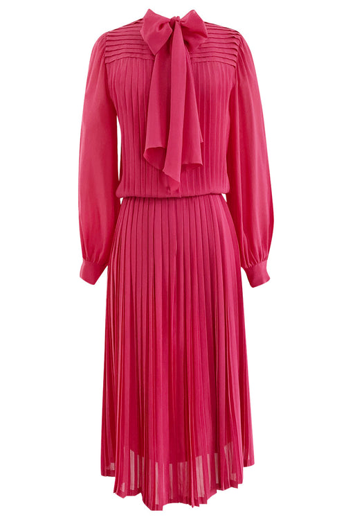 1970s Louis Feraud Haute Couture Hand Pleated Pink Silk Chiffon Day Dress w Bow