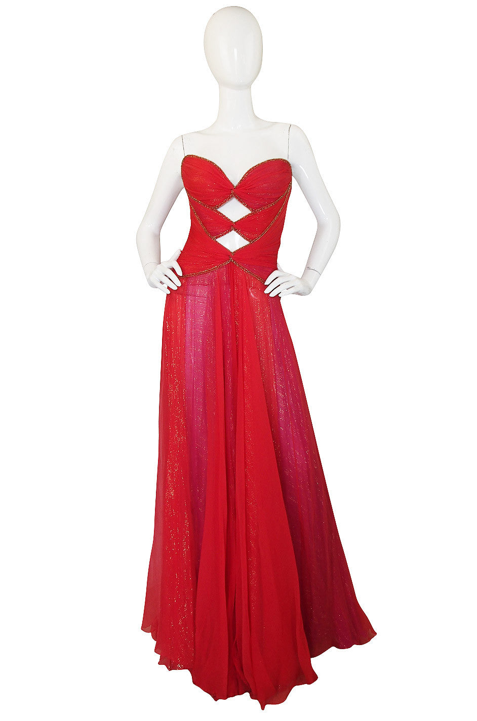 1970s Red & Gold Bob Mackie Cut Out Gown | shrimptoncouture.com