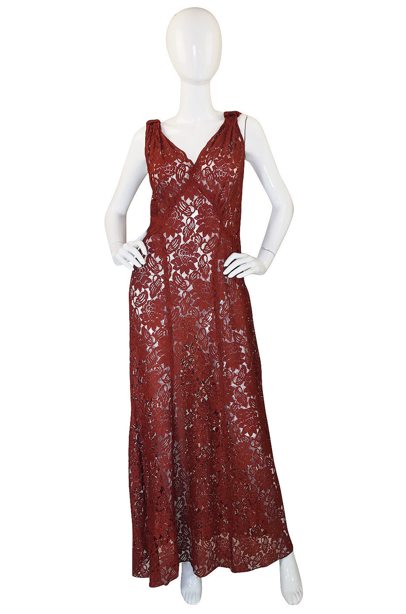 1930s Stunning Bias Cut Rust Lace Gown