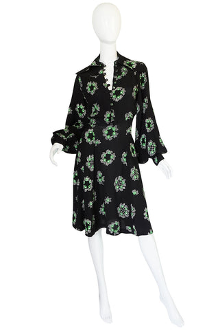 1970s Celia Birtwell Ossie Clark Moss Crepe Dress