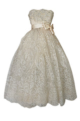 Spring 1959 Christian Dior Haute Couture Ivory & Silver Lace Dress