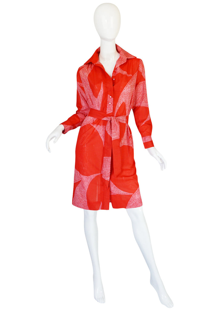 1970s Red & Pink Cotton Print Lanvin Shirtdress