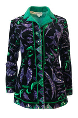 1960s Emilio Pucci Original Velvet Purple & Green Butterfly Print Jacket