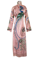 Rare Antique / 1920s Hand Embroidered & Sequinned Pink Silk Cheongsam Textile Example Dress