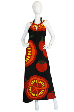"1970s Lanvin Printed ""Tomato"" Halter Jersey Dress"