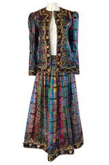 1980s Oscar De La Renta Jewelled Metallic Printed Silk Jacket & Skirt Set