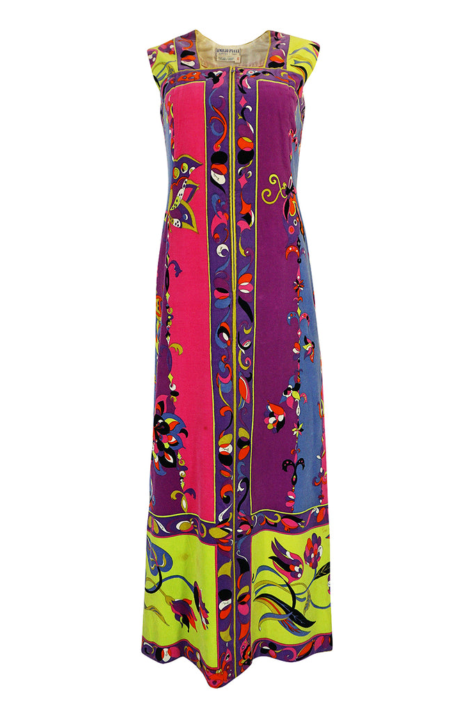 1960s Emilio Pucci Vivid Printed Velvet Front Zipper Dress