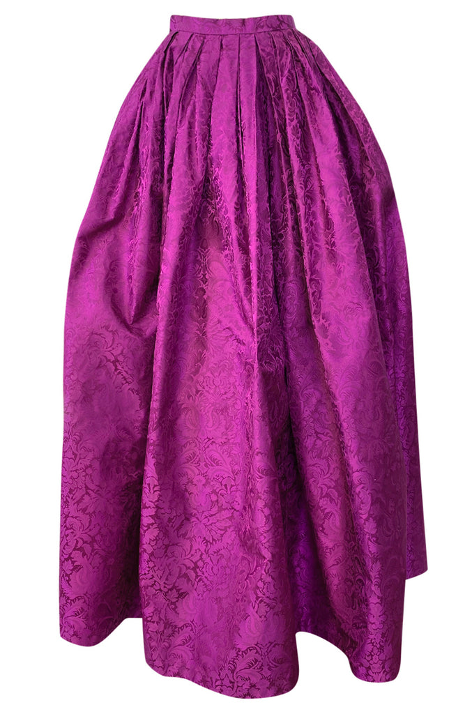 1980s Oscar de la Renta Fuchsia Silk Brocade Unworn Full Ball Gown Skirt