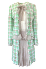 2004 Chanel Cruise Documented Mint Green Boucle & Silk Chiffon Suit