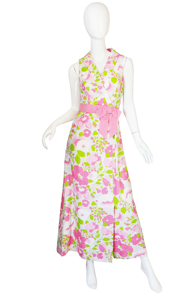 Now On Sale - 1960s Pink Floral Print Estevez Maxi Dress