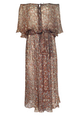 1970s Scott Barrie Off Shoulder Taupe Print Silk Chiffon Midi Dress