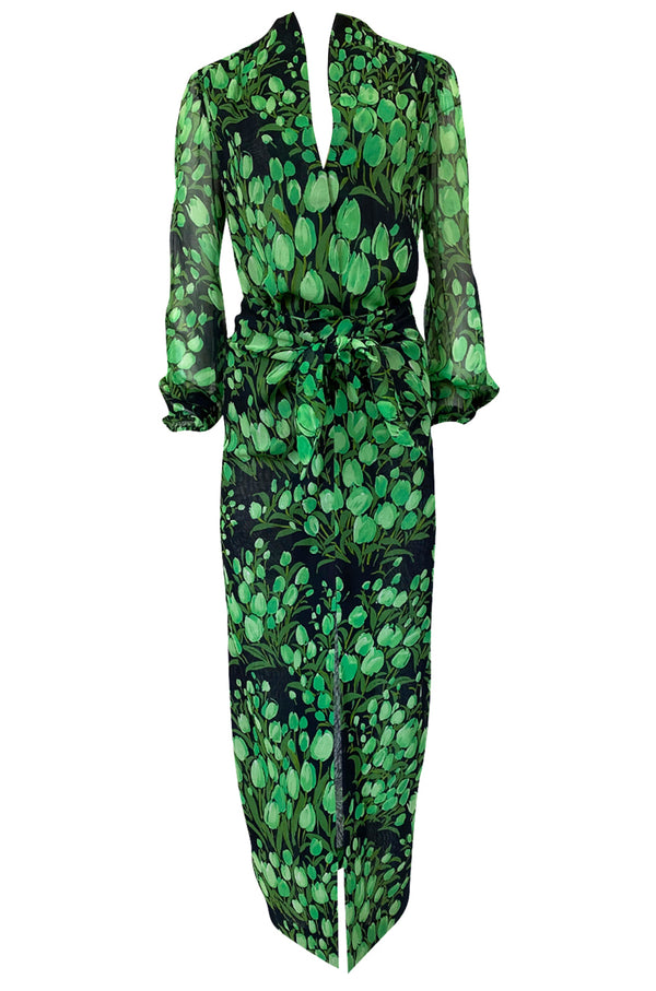 Spring 1972 Pauline Trigere Cotton Silk Voile Green Tulip Print Skirt & Top Set