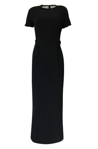1990s Gianfranco Ferre Transparent Back w Bead Detailing Black Dress