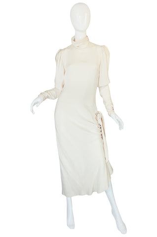 1980s Ivory Silk Dress with Couture Level Finishes