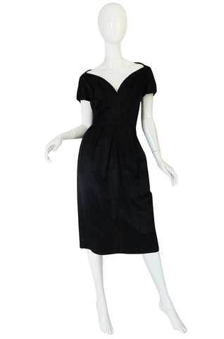 1950s Louis Estevez Black Silk Front Plunge Dress